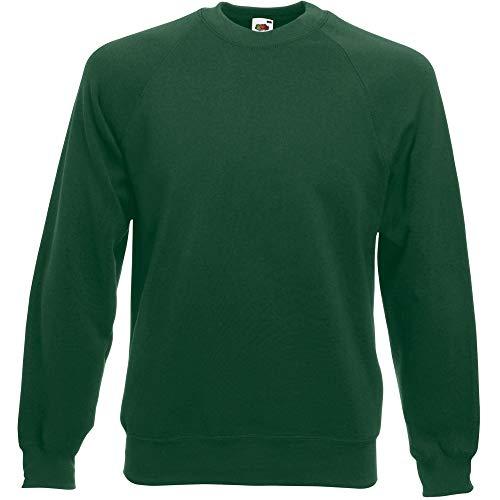 Fruit of the Loom Raglan Sweatshirt, Felpa Uomo, Verde (Bottle Green), Medium