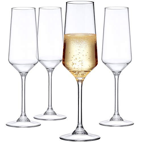 Amazing Abby 10-Ounce Unbreakable Tritan Champagne Flutes (Set of 4), Shatter-Proof Plastic Wine Glasses for Champagne, BPA-Free and Lead-Free, Dishwasher-Safe