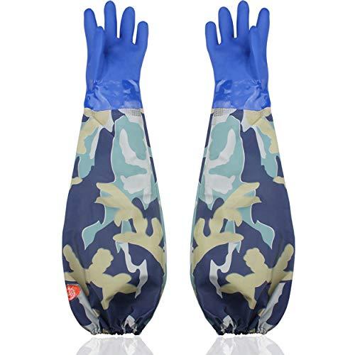 Handschuhe Aquarium Handschuhe lang, Eiito wasserdicht-Arbeitshandschuhe lang, Pu Sandstrahlerhandschu 68cm