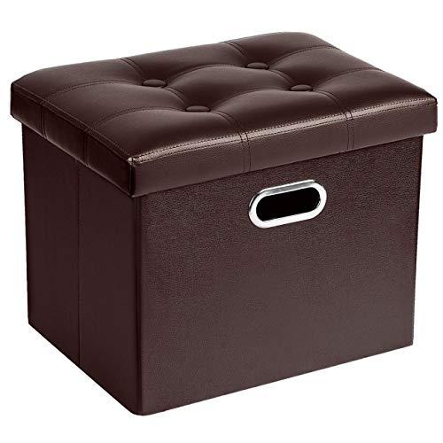 COSYLAND Sitzhocker mit Stauraum Faltbare Sitzbank Aufbewahrungsbox Leder Fusshocker Sitzwürfel mit Deckel Ottomane Fußhocker 43 x 33 x 33cm (Kaffee)