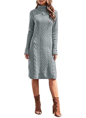 LOSRLY Damski zimowy na co dzień jednolity kolor obcisły ciepły golf do kolan dzianinowy sweter sukienka, damski sweter z długim rękawem sukienka z dzianiny UK