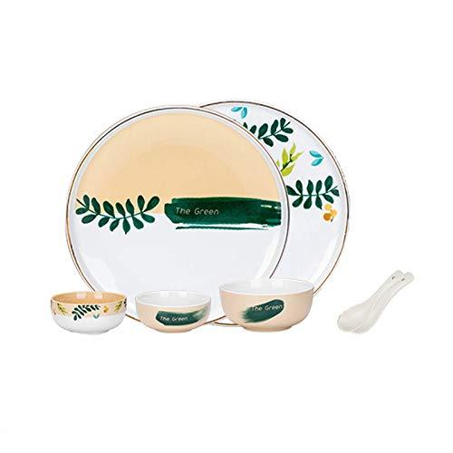 Platos llanos (7 piezas) Conjuntos de vajillas redondas Con elegantes platos de cerámica, servicio de fijación para 2, juegos de placa de cena pintados a mano modernos, platos platos y cucharas Platos
