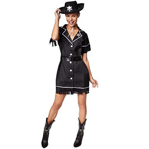 TecTake dressforfun Frauenkostüm Cowgirl | Kleid + Gürtel & Sheriffstern | Sheriff Cowboy Verkleidung (M | Nr. 300642)