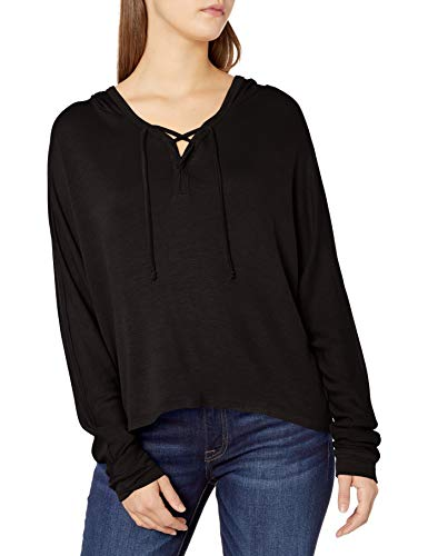 Tresics Women's Long Sleeve Hoodie Top, Black, Small