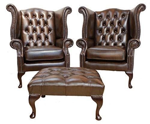 JVmoebel Chesterfield Leder Sessel Set Garnitur Ohrensessel x 2 + Hocker Garnitur Leder
