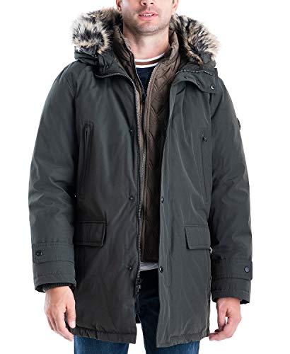 Michael Kors Men's MMK791896 Heavyweight Hooded Snorkel Parka Coat with Bib - Olive - 4XB