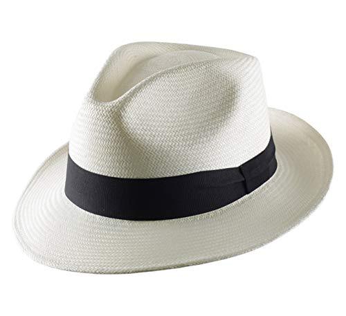 Classic Italy Authentique Chapeau Panama, tressage Traditionnel en Équateur Homme ou Femme Panama Cubano - Taille 62 cm - Blanc