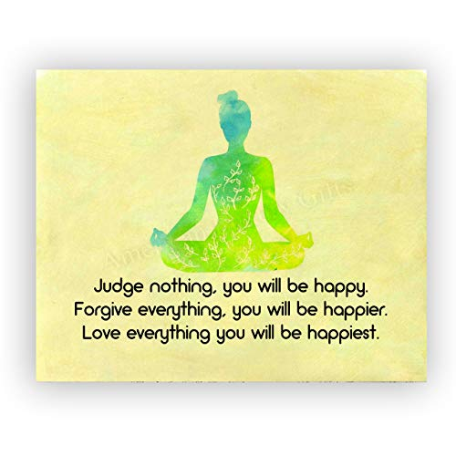 """""""Love Everything-You Will be Happiest""""-Spiritual Wall Art -10 x 8' Multi-Colored Yoga Pose Print-Ready to Frame. Inspirational Home-Studio-Office-Meditation-Zen Decor. Perfect Life Lesson for All!"""