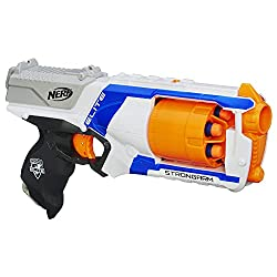 in budget affordable Nerf N Strike Elite Strong Arm Toy Blaster, Rotating Barrel, Slamfire, 6 Official Nerf…