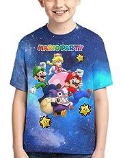 LIJUNQI Super Mario T-shirt voor kinderen, zomer, 3D bedrukt, korte mouwen, voor jongens en meisjes, 100-160