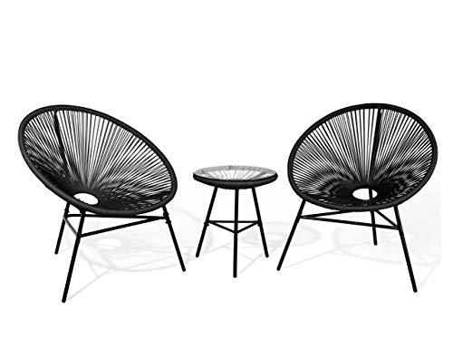 Lustiges Balkonset 2 Stühle mit 1 Tisch Spaghetti-Optik Rattan schwarz Acapulco