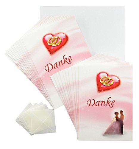 Hochzeit Dankeskarten 20 Stück rosa rot weiß im Set. Erst Hochzeit feiern und dann Danke sagen. 20 Dankekarten, 20 weiße Umschläge, 20 Fotoecken mit Foto selber gestalten (20 St. Dankeskarten)