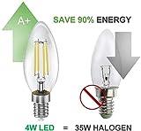 BIGHOUSE E14 LED Lampe, Kerzenform, 4W Ersetzt 35W Halogenlampen, 400 Lumen, 2700K Warmweiß, Filament Klar, 6 Stück - 3