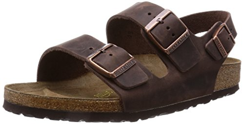 BIRKENSTOCK Herren Milano Greased Leather Sandalen, Braun (Habana), 44 EU