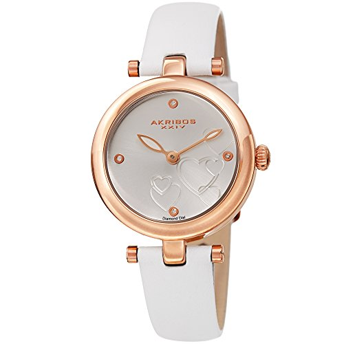Akribos XXIV Heart Engraved Dial Watch - 4 Diamond Markers On a Leather Strap Women's Watch - Beautiful Gift Box Perfect for Mothers Day - AK1044
