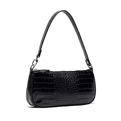 Barabum Retro Classic Crocodile Pattern Clutch Shoulder Baguette Bag with Zipper/Magnetic Closure for Women(Black)