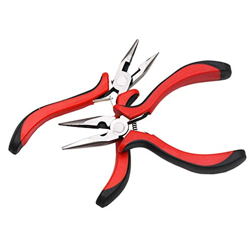 2Pcs Long Nose Pliers with Wire Side Cutter 5-Inch Needle Nose Pliers