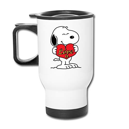 Jldoenh Udjgn Taza de café con aislamiento Snoopy para coche, de acero inoxidable, unisex, para oficina, viaje o casa