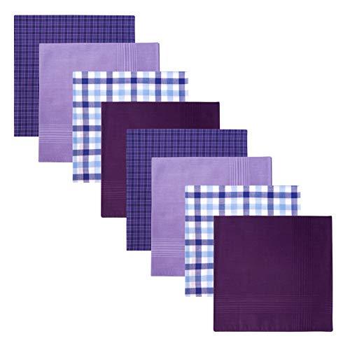 Retreez 8 Stück Reine Baumwolle Gemischte Taschentücher für Herren Geschenkset - Gemischte Set A5A005