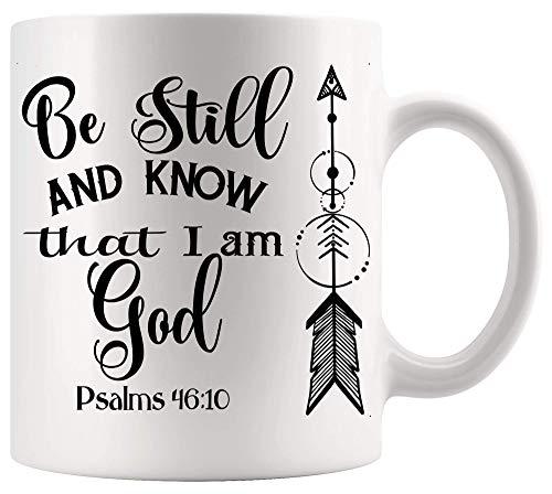 Taza de Dios Jesús Taza cristiana Quédese quieto y sepa que yo soy Dios, versículo bíblico, Salmos, oración cristiana de Jesús, tazas de 11 oz