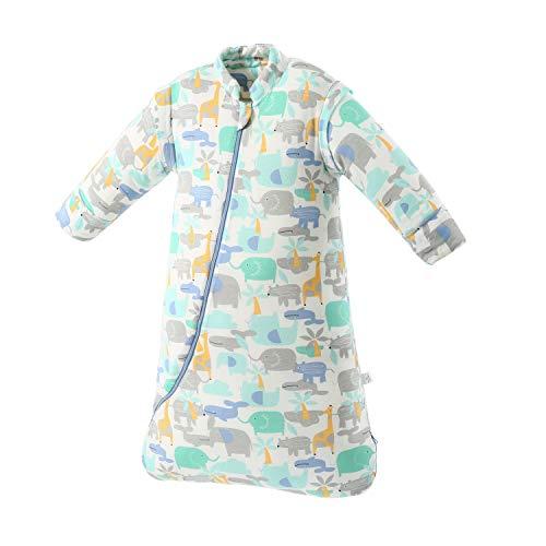 Sacco nanna invernale per bambini, 3,5 Tog, in cotone biologico, diverse misure, dalla nascita a 4 anni blu Blauer_elefant M/6-18Monate