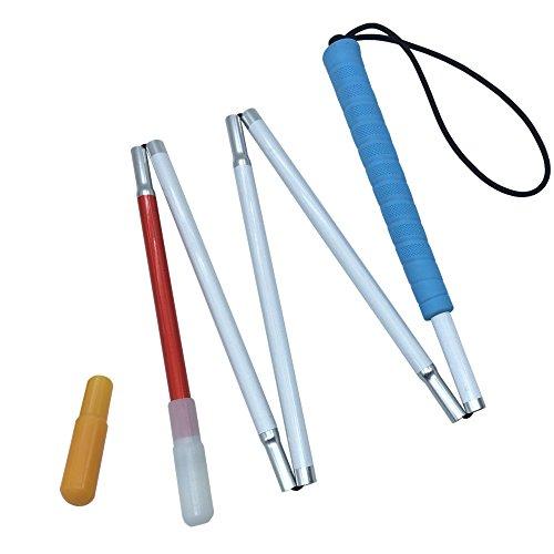 Aluminio Bastón Blanco para Ciegos y Baja Vision Plegable 5 Secciones con 2 Punta (Mango de Azul, 105 cm (41.3 Pulgada))
