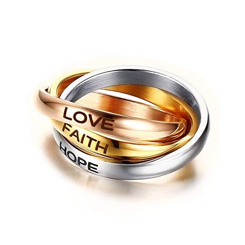 DSBN Anillos De Mujer 3 Mm De Acero Inoxidable De Tres Colores Anillo De Balanceo Entrelazado Triple Alianza De Boda Laser Love Hope Faith Jewelry 5