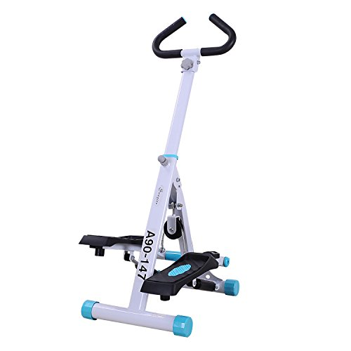 Soozier Adjustable Stepper Aerobic Ab Exercise Fitness Workout Machine with LCD Screen & Handlebars, White