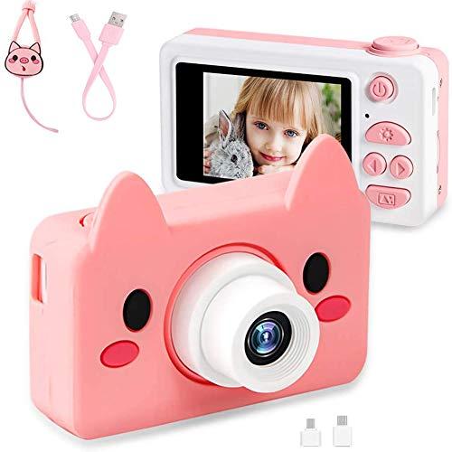 AeeYui - Cámara de Fotos para niños, cámara Digital portátil, diseño antigoteo para niños, HD 24 megapíxeles, LCD de 2.0 Pulgadas / 1080P (Conejo)