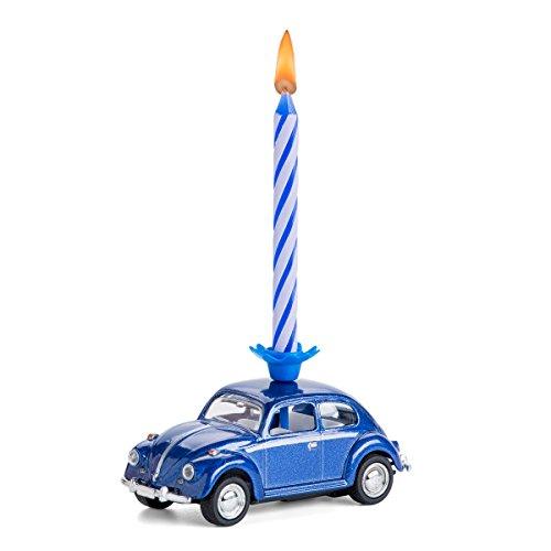 corpus delicti :: Vela sobre Ruedas - el Regalo de cumpleaños con Vela para Todos los fanáticos de Beetle - VW Beetle / Escarabajo de VW de Metal (Azul)