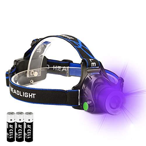 Schwarzlicht-Stirnlampe, 365 nm, UV-Harz, Haustier-Urin-Detektor, Skorpion-Jagdlicht
