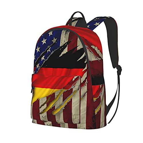 Reise-Laptop-Rucksack, Diebstahlschutz, Computertasche, Business-Büchertasche für Damen und Herren Gr. One size, Alte rostige Deutschlandflagge Amerikanische Flagge USA schwarz