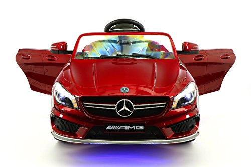 ModernoKids 2021 NEWEST LICENSED CLA45 AMG KIDS ELECTRIC RIDE-ON CAR TOY, LEATHER, MP3 USB PLAYER, 12V BATTERY LED WHEELS/BODY KIT, REMOVABLE BABY TRAY TABLE WITH PARENTAL REMOTE | CHERRY RED METALLIC