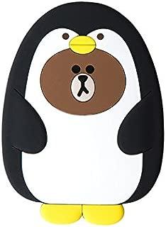 LINE FRIENDS Hand Mirror - Pengo Brown Character Handheld Plush Travel Mirrors, White/Black