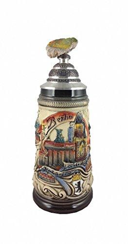 Zöller & Born Bierkrug Berlin Panorama Seidel, Mauerstück auf Zinndeckel 0,5 Liter Bierseidel ZO 1744-9013
