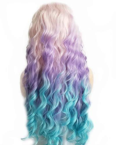 XINGYU Perruque rebondissante Cheveux Longs sécurité synthétique Avant de Lacet Perruques pour Femmes Cosplay Festival Maquillage Partie Pastel Rose Ombre Lilas Violet/Bleu Clair