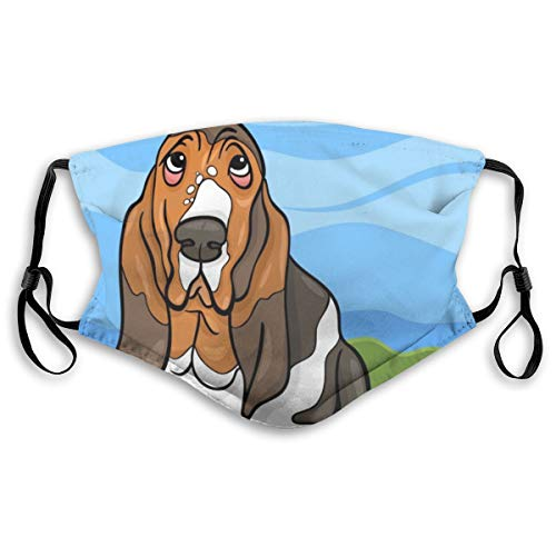 VOSGA Basset Hound Dog Welcome Face Neck Gaiter Scarf Custom Washable Half Buff Face Mask Funny Cute Balaclava Bandana Cloth