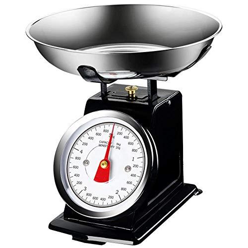 Bakaji Bilancia Meccanica Analogica da Cucina Atlas in Metallo con Ciotola Cromata Design Vintage Capacità Massima 5Kg Accessori Per Cucinare (Nero)