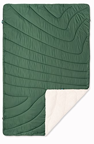 Rumpl The Sherpa Puffy Blanket | Ultra Soft Warm Outdoor Fleece Sherpa Blanket for Camping, Picnics, Traveling, Concerts | Forest Green/Dune Brown, Throw (Last Season)