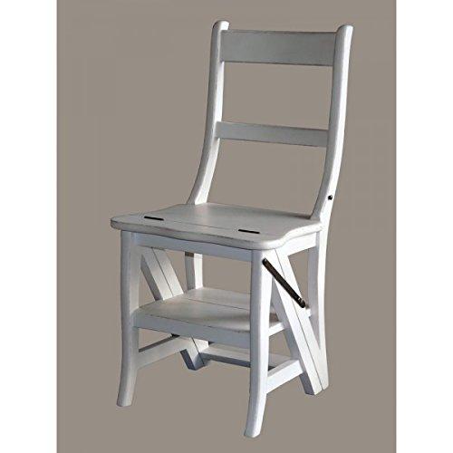Vintage-Line Leiterstuhl - Treppenstuhl Stuhl aus Teakholz, weiß Teak Holz Stuhl