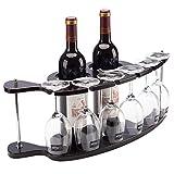 FFAN Estantes de Vino de Mesa de Lujo nórdico, Estante de decoración de Hierro Forjado, Tiene Capacidad para 2 Botellas y 6 Vasos, Organizador de estantes para Copas, Negro Satinado Good Life