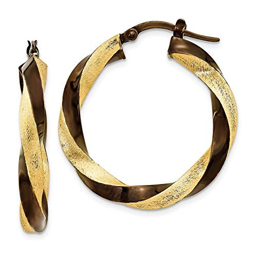 14 Karat und Schokolade, rhodiniert, 3,75 mm, gedreht,-Ohrringe JewelryWeb