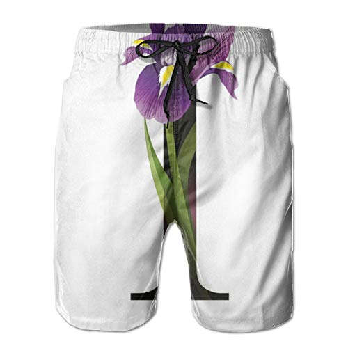 ZMYGH Men's Sports Beach Shorts Board Shorts,ABC Concept Floral Typography with I Silhouette and Iris Flowers Spring,Surfing Swimming Trunks Bathing Suits Swimwear,XL
