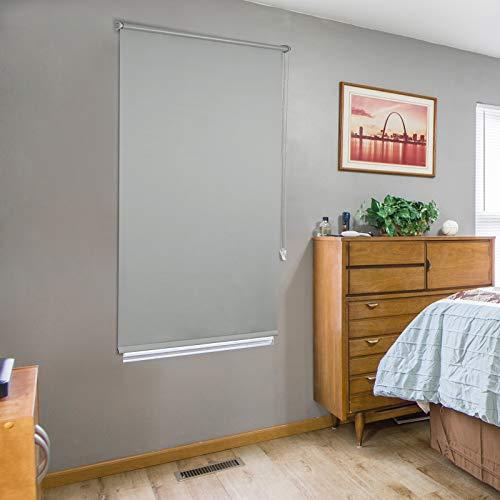 Laneetal Verdunklungsrollo in 90x210cm Grau Seitenzugrollo Thermorollo mit Beschichtung Klemmfix Rollo ohne Bohren Klemmrollo für Fenster & Türen