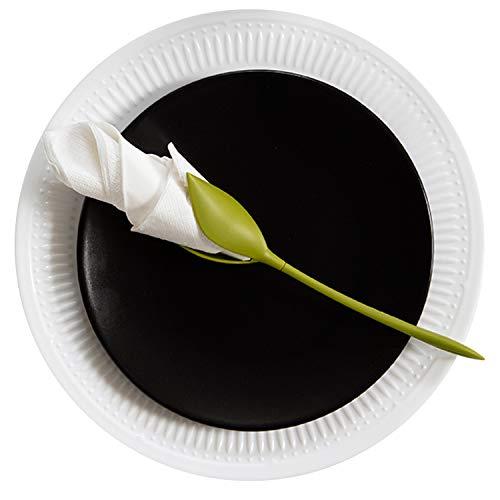 Serviettenhalter aus Kunststoff, mit Blumenmotiv, Grün, 4 Stück