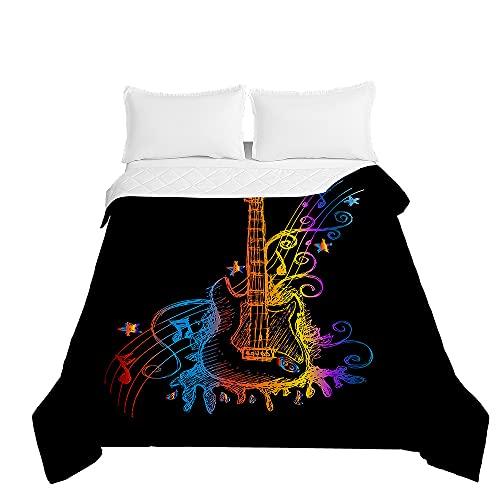 Guitarra Colcha de Verano Cubrecama Colcha Bouti, Chickwin Estampada Edredón Manta de Dormitorio Suave Ligero Multiuso Colchas para Cama Infantil Individual Matrimonio (Azul Degradado,130x150cm)