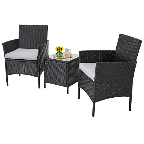Incbruce Patio Bistro Set 3-Piece Outdoor Wicker Furniture Sets, Modern Rattan Garden Conversation Chair with Thick Cushion and Glass Top Coffee Table (Black/Grey)