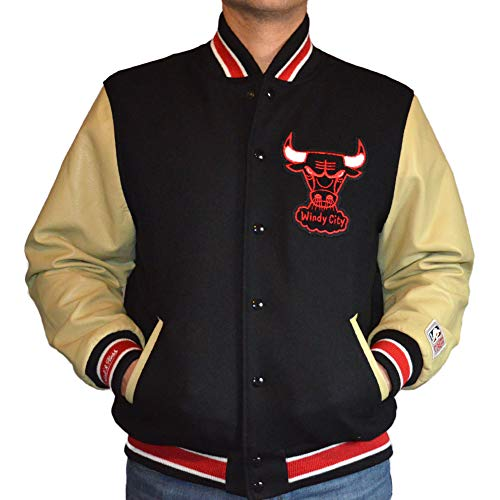 Mitchell & Ness Wool Leather Varsity Jacket Chicago Bulls Black L