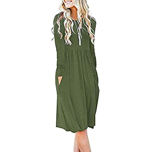 Women's Casual Long Sleeve Dresses Empire Waist Loose Dress with Pock...