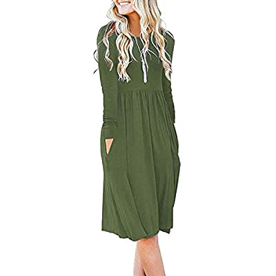 Women's Casual Long Sleeve Dresses Empire Waist Loose Dress with Pockets